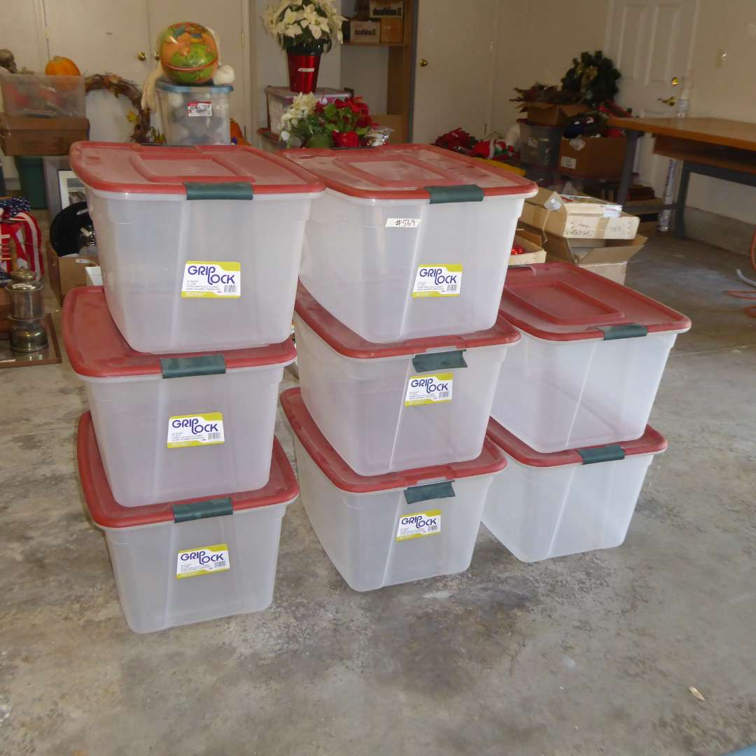 """Lot # 569  - 8 """"Grip Lock"""" 60 Qt Storage Containers  (main image)"""