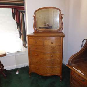 """Lot # 77 - Antique """"Warren Table Works"""" Dresser on Casters w/Beveled Mirror & Dovetailed Drawers"""