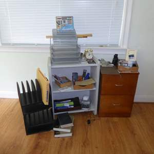 Lot # 282 - Filing Cabinet, Metal Shelf, Office Supplies & Calligraphy Set