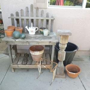Lot # 445 - Farmhouse Potting Table, Terracotta Pots, Glass Globes, Plant Pedestal, Pots and More