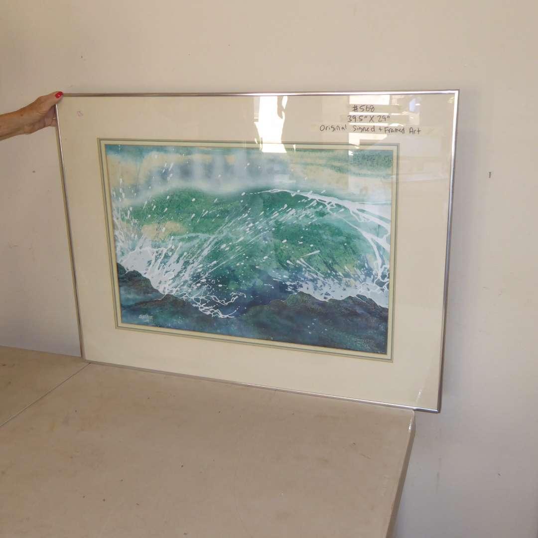 Lot # 568  - Original Signed & Framed Art