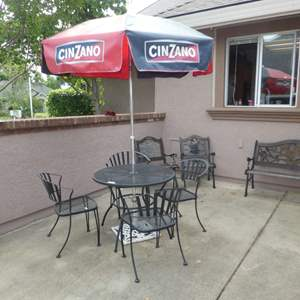 Lot # 400 - Metal Round Table and Chairs w/ Cinzano Market Umbrella