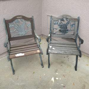 Lot # 401 - Two Berkley and Forge Cast Iron and Wood Garden Chairs
