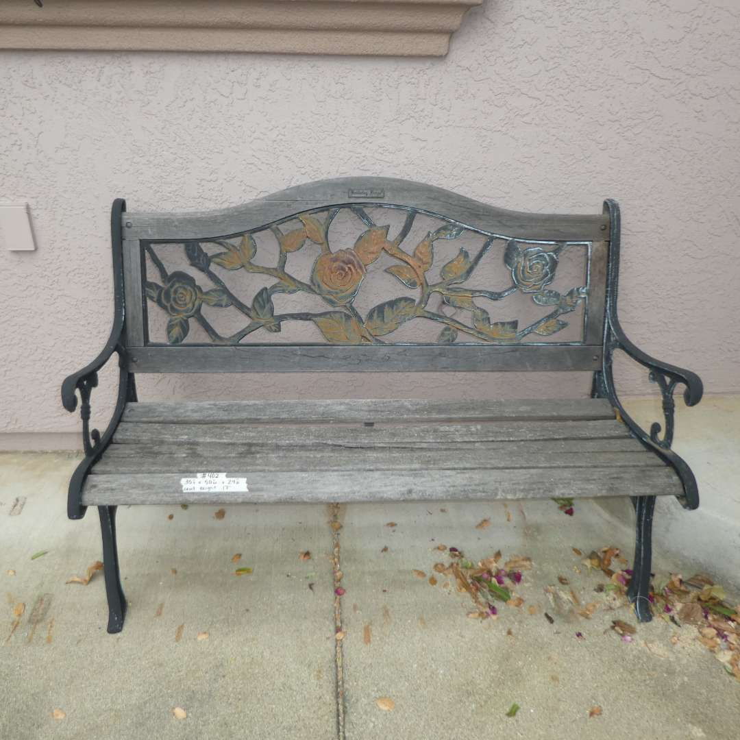 Lot # 402 - Berkley and Forge Cast Iron and Wood Garden Bench (main image)
