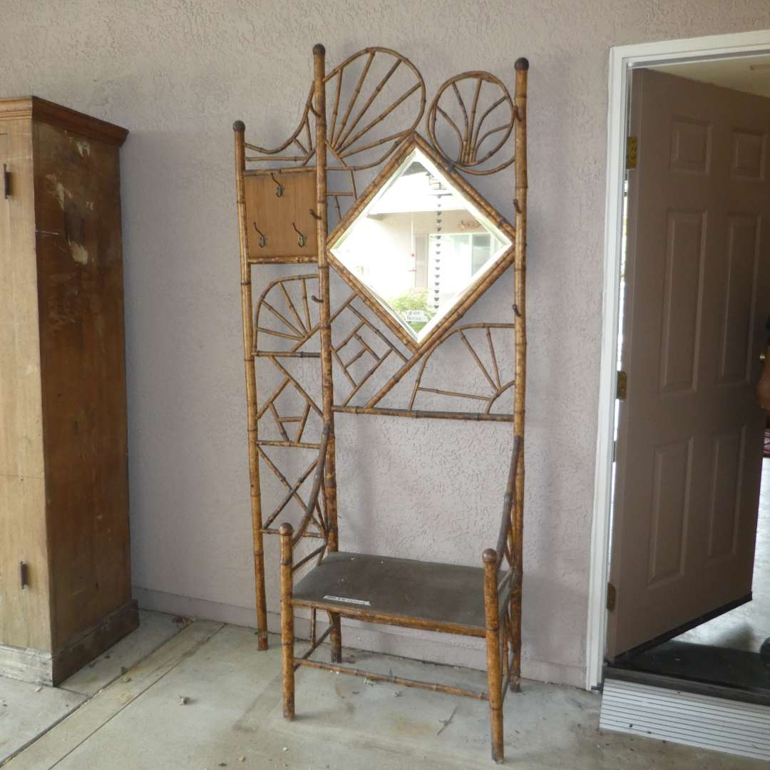 Lot # 404 - Vintage Bamboo Hall Tree w/ Beveled Mirror (Wobbles, Needs To Be Tightened, Comes w/ Box of Extra Bamboo Pieces) (main image)