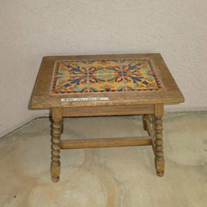 Lot # 406 - Antique California Mission Style Tile Top Side Table