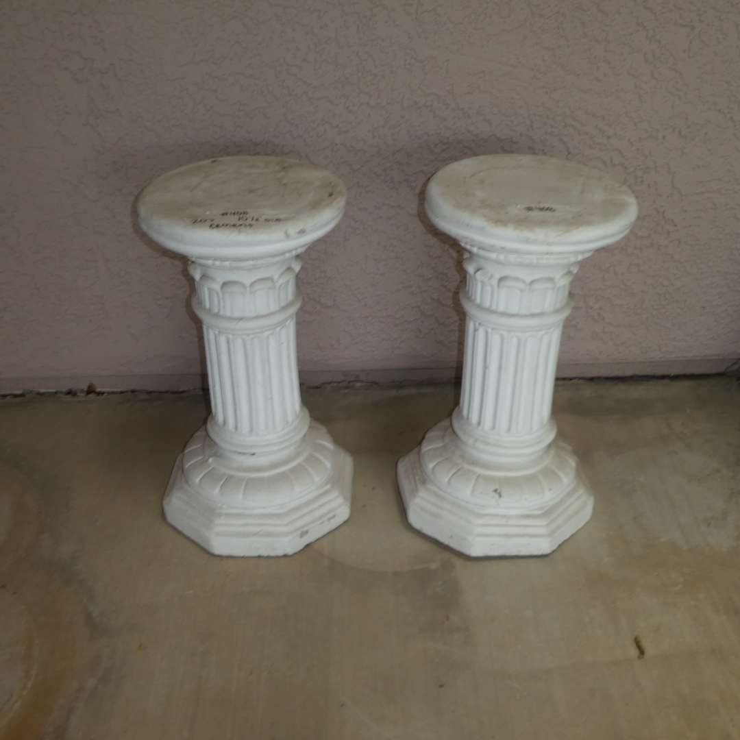 Lot # 408 - Two Cement Plant Stand Pedestals (Architectural Columns)    (main image)