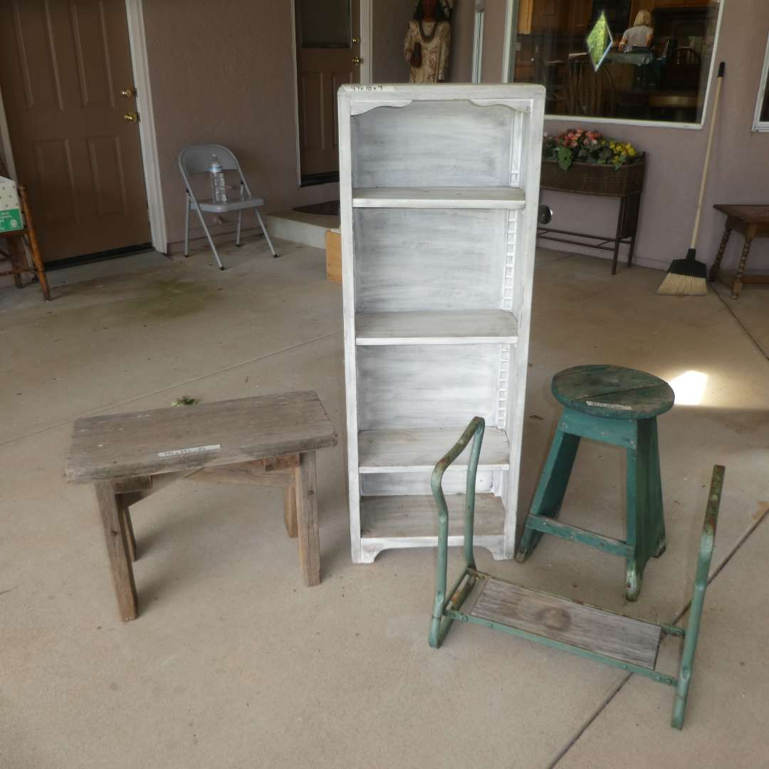 Lot # 414 - Rustic/ Farmhouse Shelf, Bench, Stool and Plant Stand  (main image)