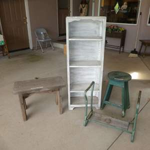 Lot # 414 - Rustic/ Farmhouse Shelf, Bench, Stool and Plant Stand