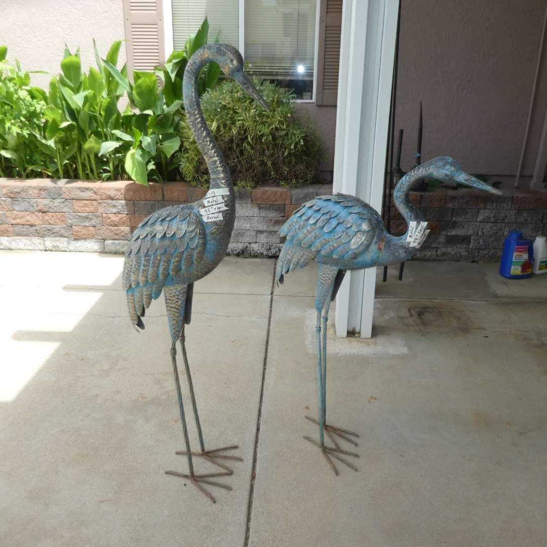 Lot # 415 - Two Metal Herons (Yard Art) (main image)