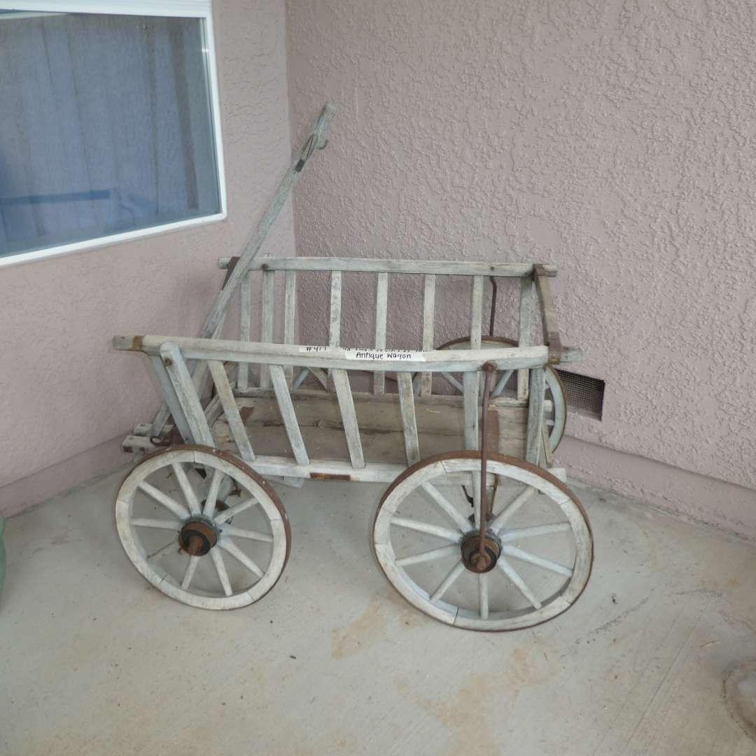 Lot # 417 - Antique Goat Cart  Wooden Wagon  (main image)