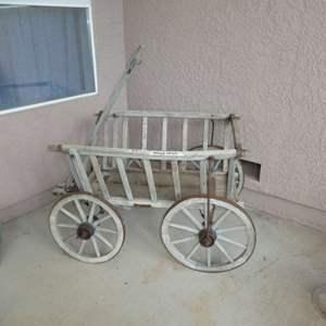 Lot # 417 - Antique Goat Cart  Wooden Wagon