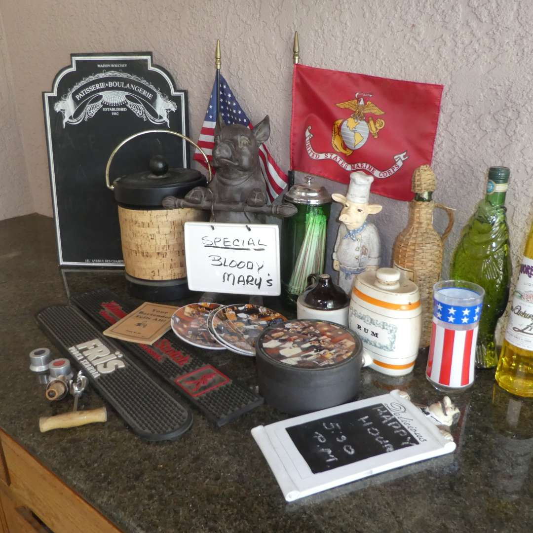 Lot # 421 - Bar Lot (Bar Mats, Drink Special Boards, Ice Bucket, Empty Collectible Alcohol Bottles, Canape Plates and More)  (main image)