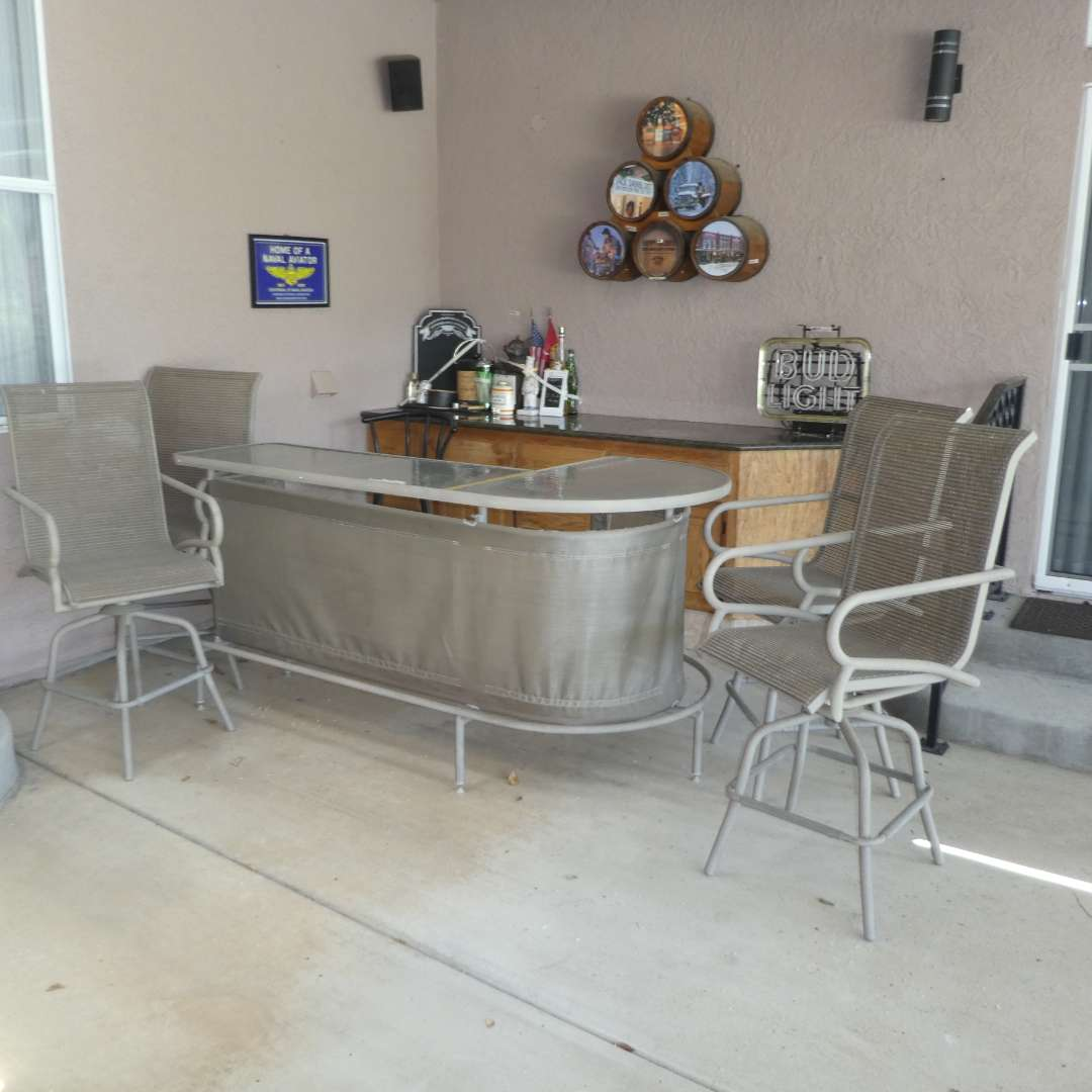Lot # 422 - Nice Glass Top Bar w/ 4 Swivel Bar Chairs (In Great Condition) (main image)