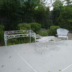 Auction Thumbnail for: Lot # 425 - Vintage Wrought Iron Patio Furniture Lot --Table (Missing Glass), Coffee Table, Three Small Tables and Chair)