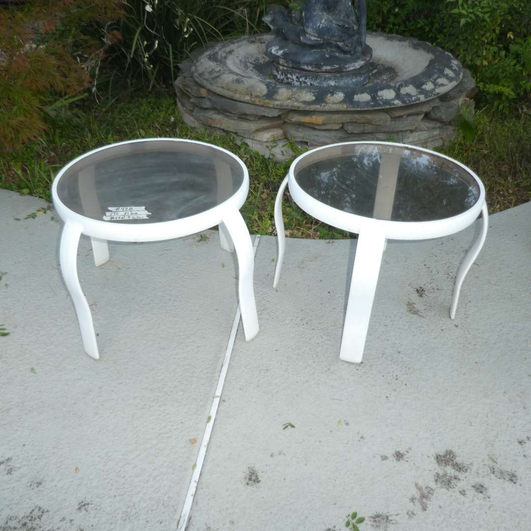 Lot # 428 - Two Glass and Metal Outdoor Side Tables (main image)