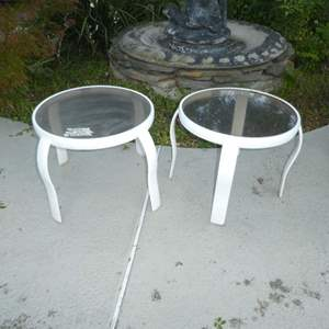 Lot # 428 - Two Glass and Metal Outdoor Side Tables