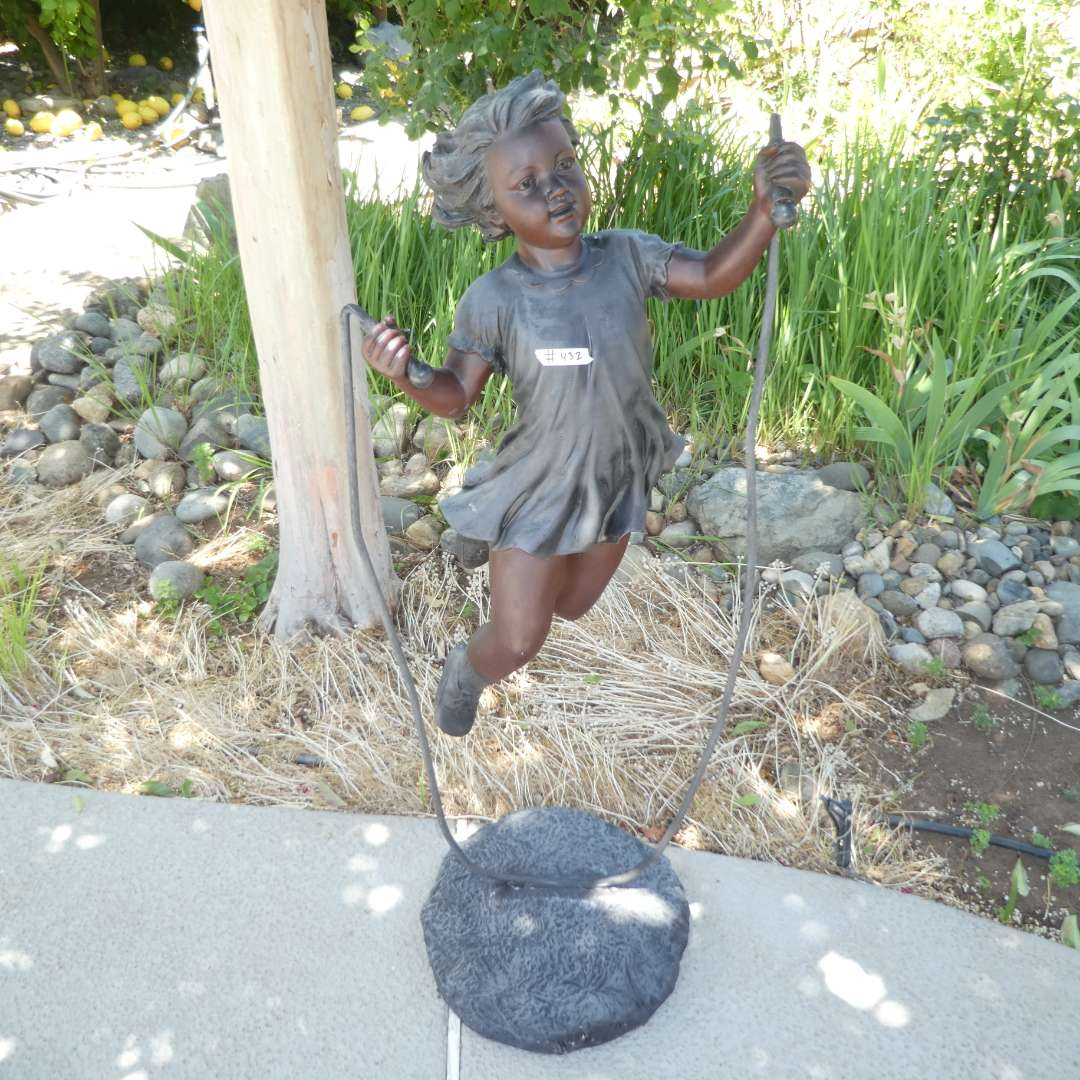 Lot # 432 - Memory Captured in Time Statue (Girl Jump Roping)(Resin) (main image)