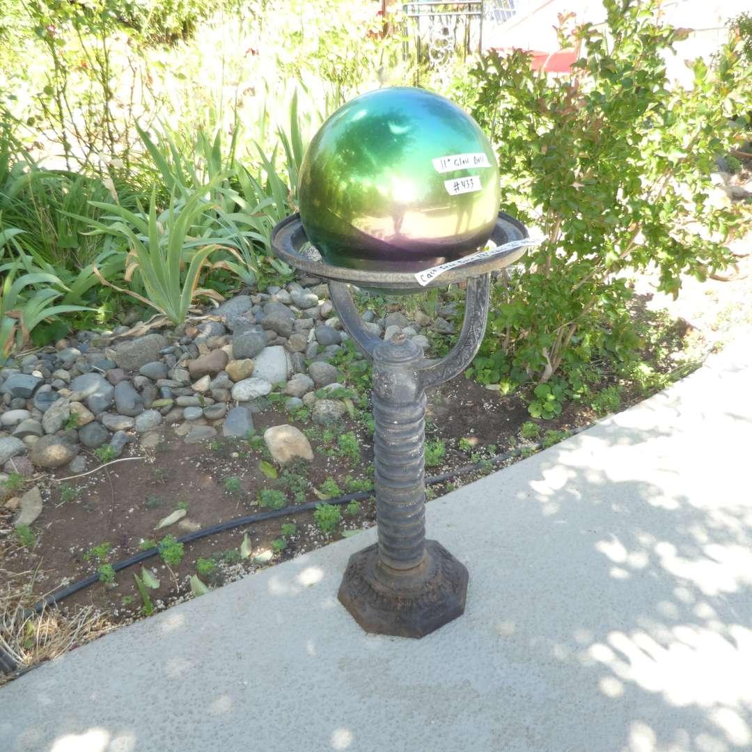 Lot # 433 - Rainbow Garden Gazing Globe on Cast Iron Stand (main image)