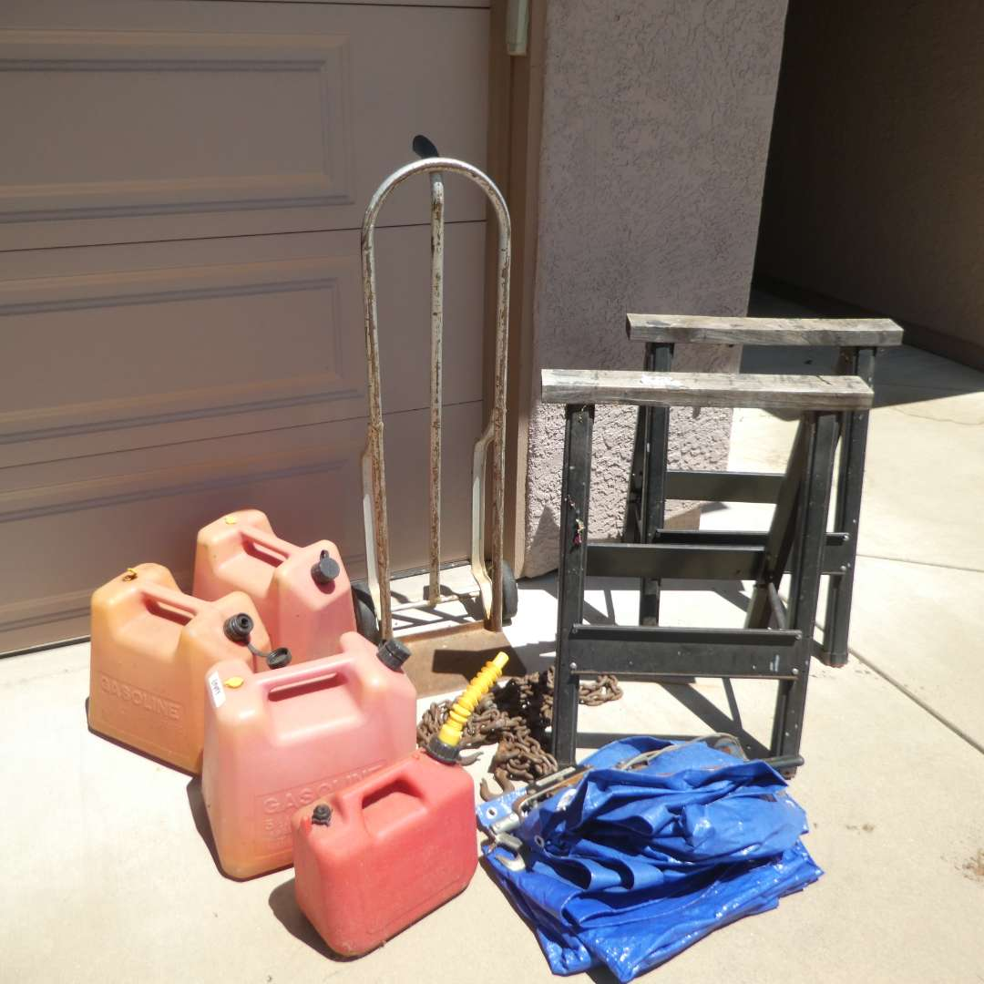 Lot # 437 - Hand Truck, Sawhorses, Tarp, Empty Gas Cans and Come-Along and Chain (main image)