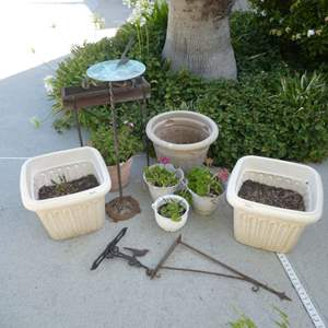 Lot # 439 - Metal Sundial(Yard Art),Wooden Planter, Metal Plant Hangers and a Variety of Plastic Pots