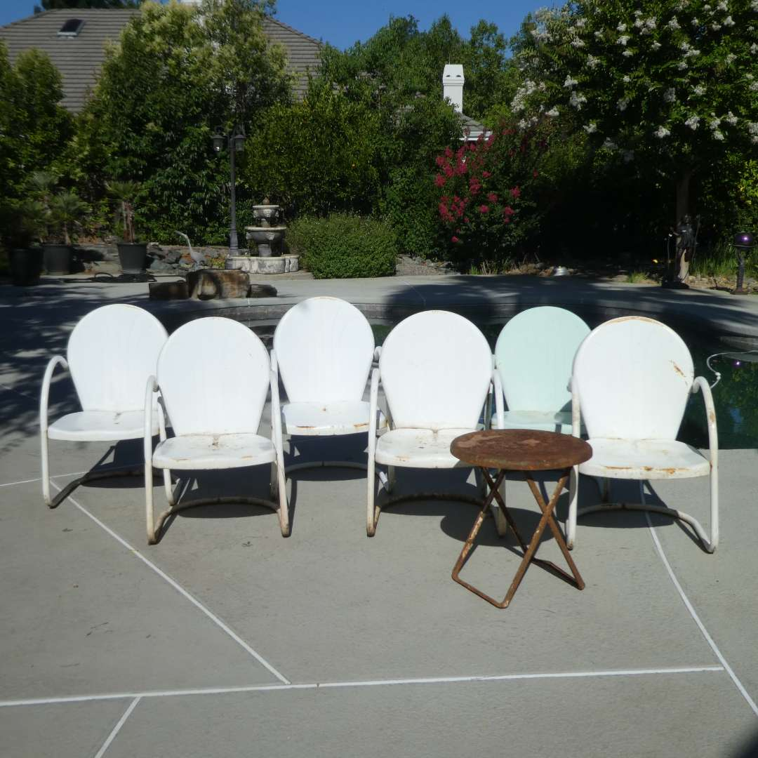 Lot # 441 - Six Vintage Outdoor Patio Chairs and Small Folding Table (Rusting, Need Some TLC) (main image)