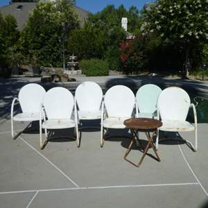 Lot # 441 - Six Vintage Outdoor Patio Chairs and Small Folding Table (Rusting, Need Some TLC)