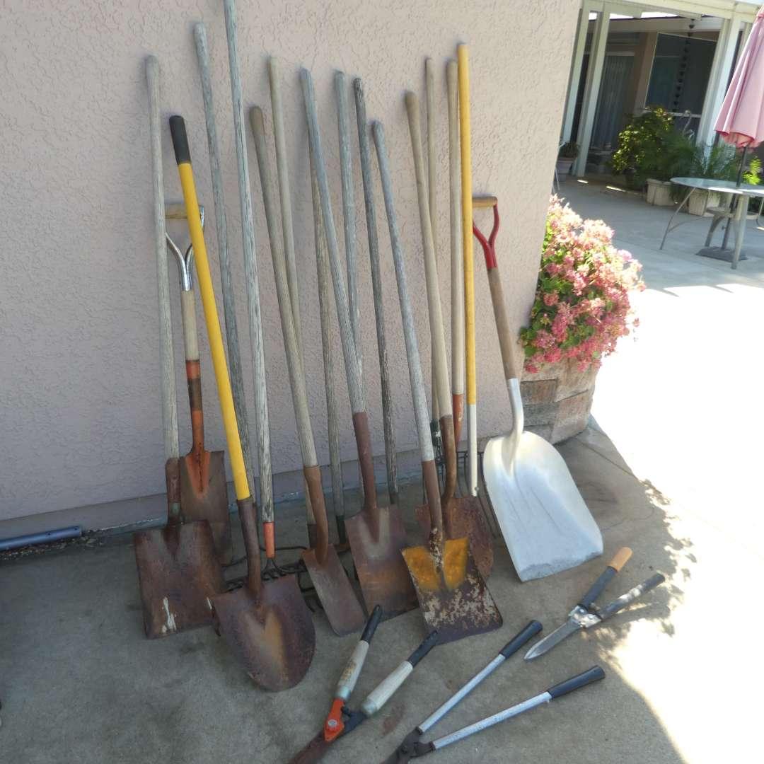 Lot # 442 - Yard Tools -- Variety of Shovels, Rakes, Weeding Hoe and More (main image)