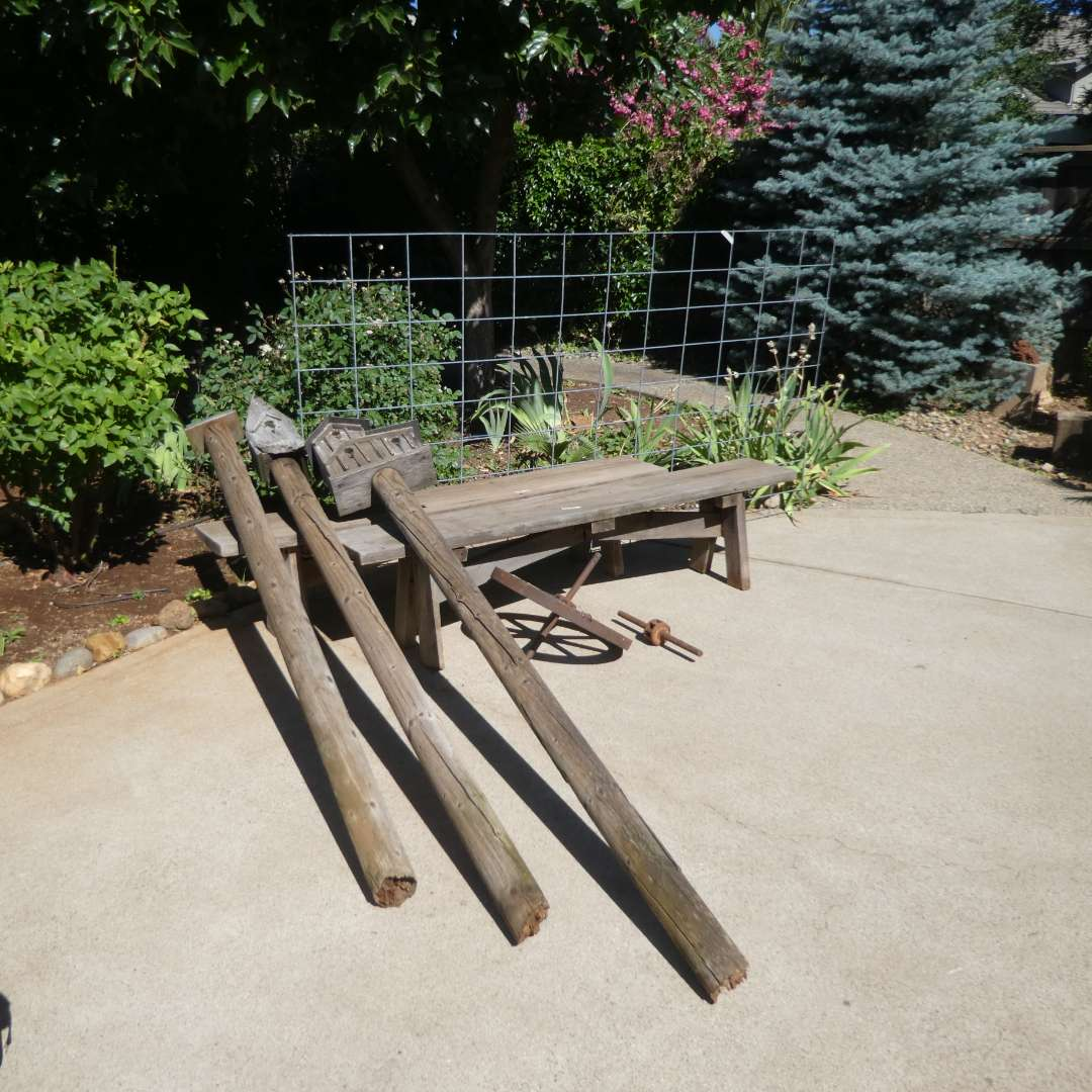 """Lot # 446 - Two 6Ft. Wooden Benches, Small Antique Wagon Wheel, 8' x52"""" Pieces of Hog Panel and More (main image)"""