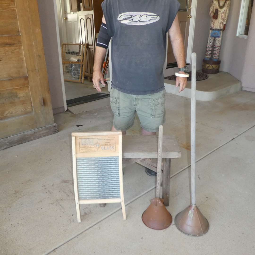 Lot # 450 - Antique Primitive Hand Plunger Washing Agitators, Wood & Glass Washboard and Small Wooden Bench  (main image)