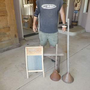 Lot # 450 - Antique Primitive Hand Plunger Washing Agitators, Wood & Glass Washboard and Small Wooden Bench