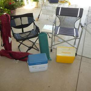 Lot # 455 - Four Folding Camp Chairs, Playmate Igloo and Sleeping Mat