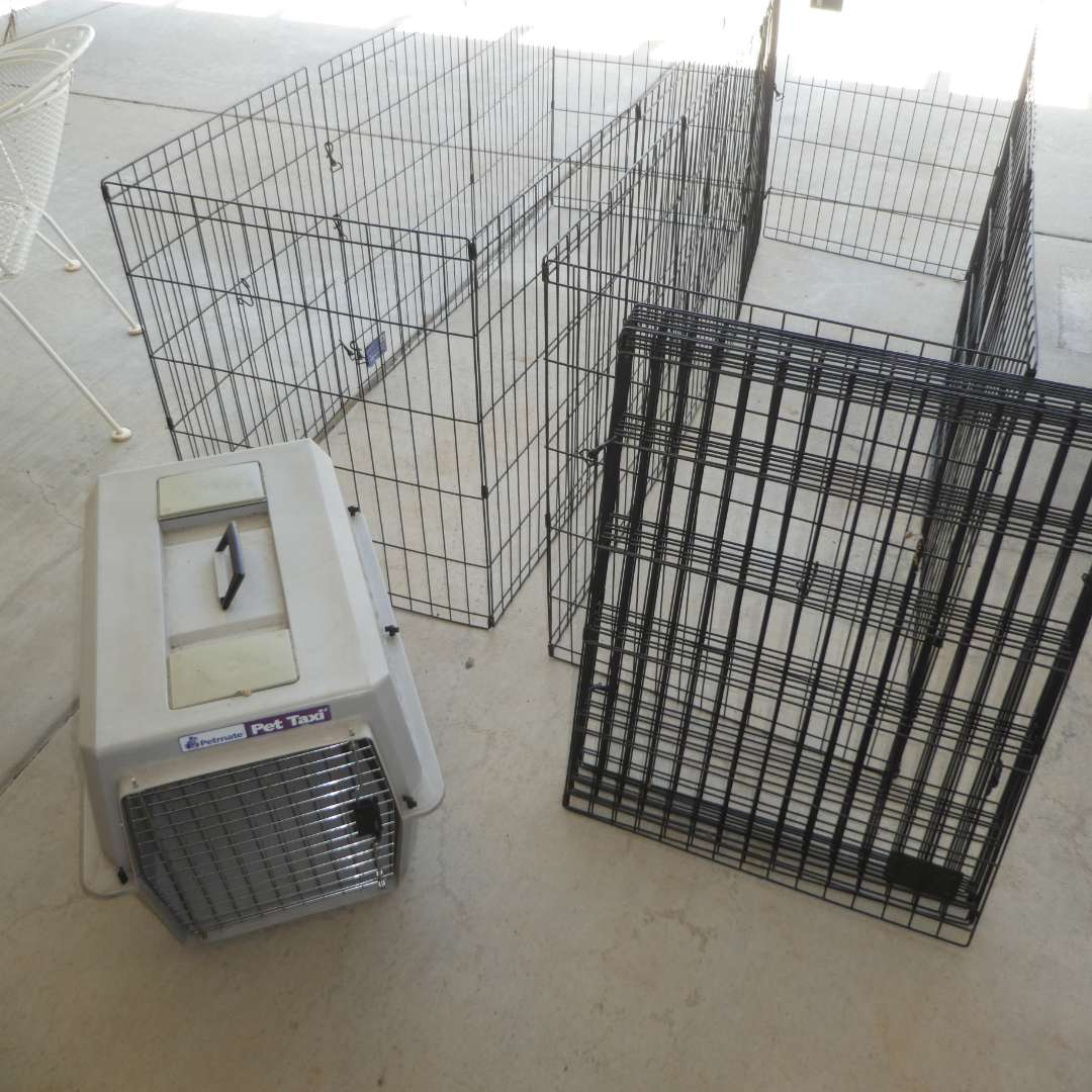 """Lot # 456 - Three 24"""" X 30"""" Pet Exercise Pins and a Pet Taxi Crate   (main image)"""