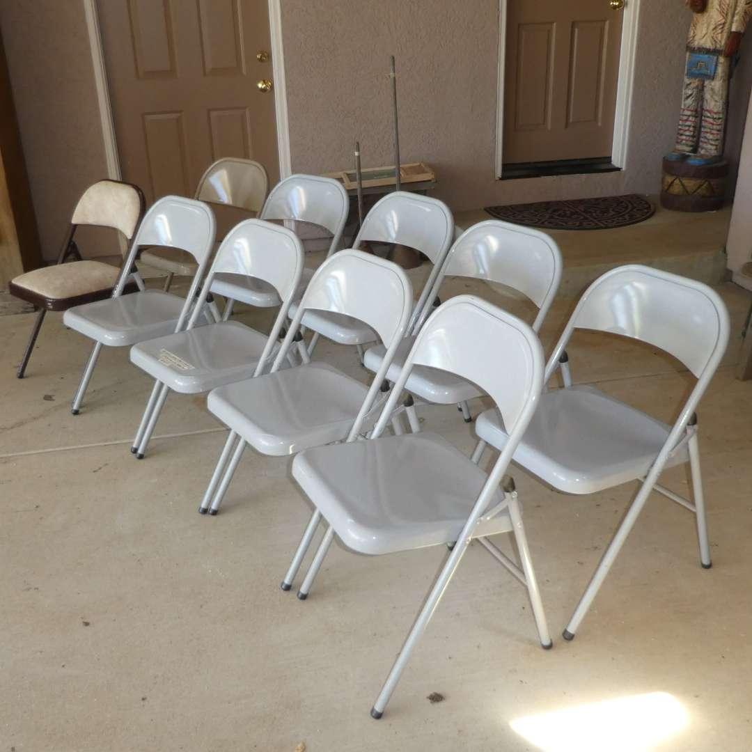 Lot # 457 - 10 Folding Metal Chairs (8 Match)