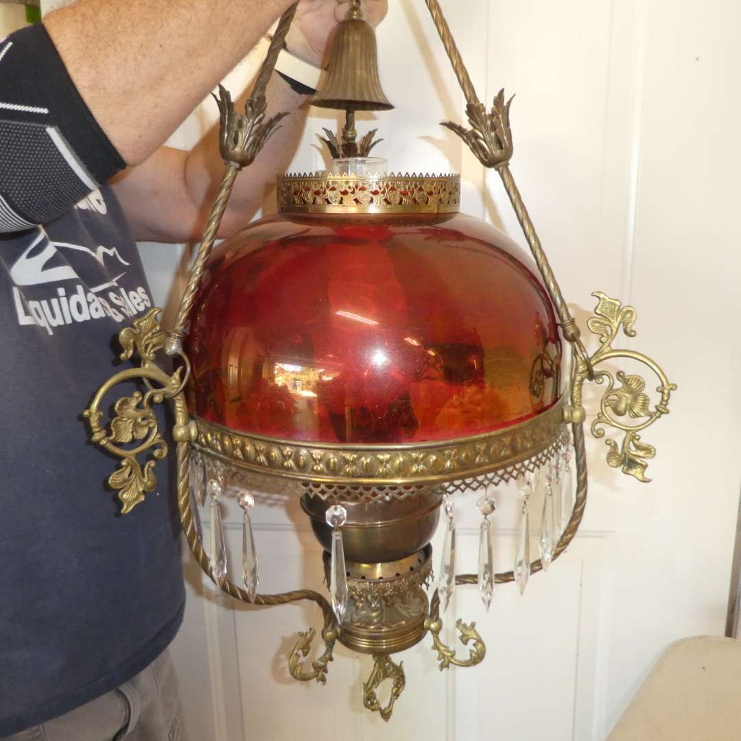 Lot # 470 - Vintage Chandelier w/ Beautiful Flash Glass Cranberry Shade  (main image)