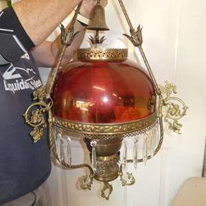 Lot # 470 - Vintage Chandelier w/ Beautiful Flash Glass Cranberry Shade