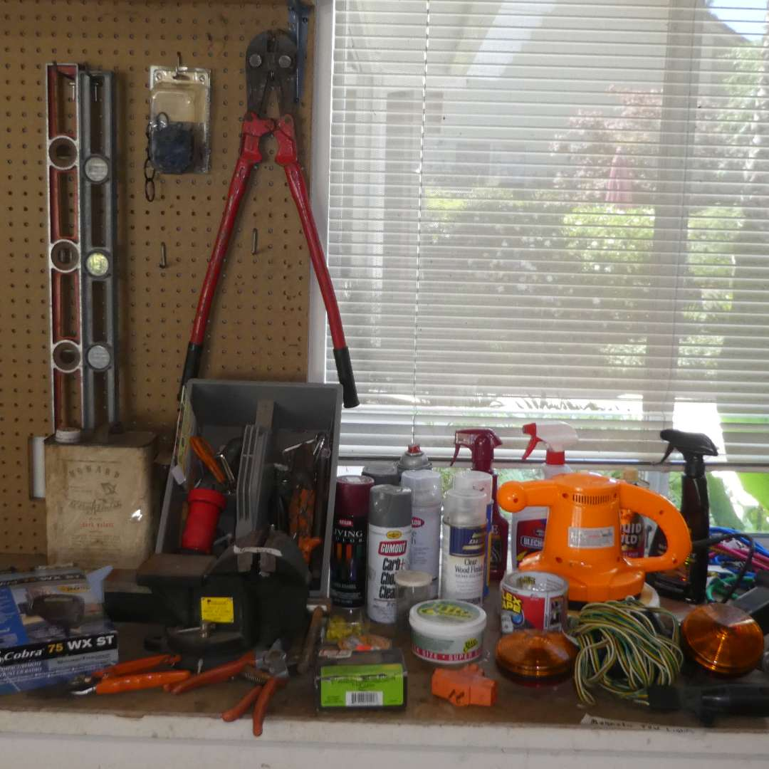 Lot # 478 - Assorted Tools, Chemical, Hitch/ Balls and Bungees  (main image)