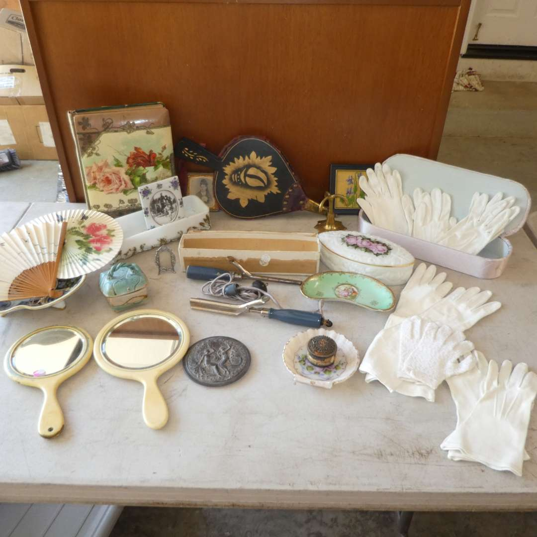 Lot # 485 - Vintage Ladies Lot- beautiful Photo Album,Gloves, Mirrors, Curling Irons, Jewelry Dishes and more (main image)