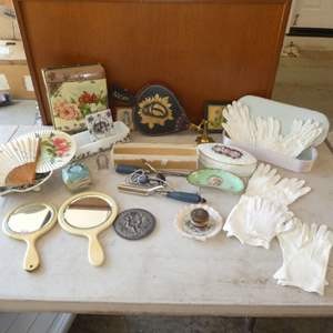 Lot # 485 - Vintage Ladies Lot- beautiful Photo Album,Gloves, Mirrors, Curling Irons, Jewelry Dishes and more