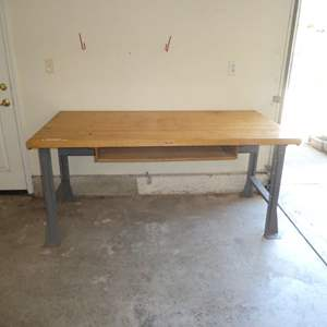Lot # 487 - Dayton Industrial Work Bench w/ Solid Maple Wood Top