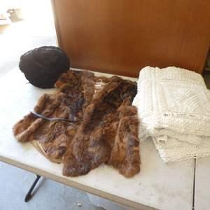 Lot # 490 - Vintage Multi Fur Vest, Fur Muff and Blanket