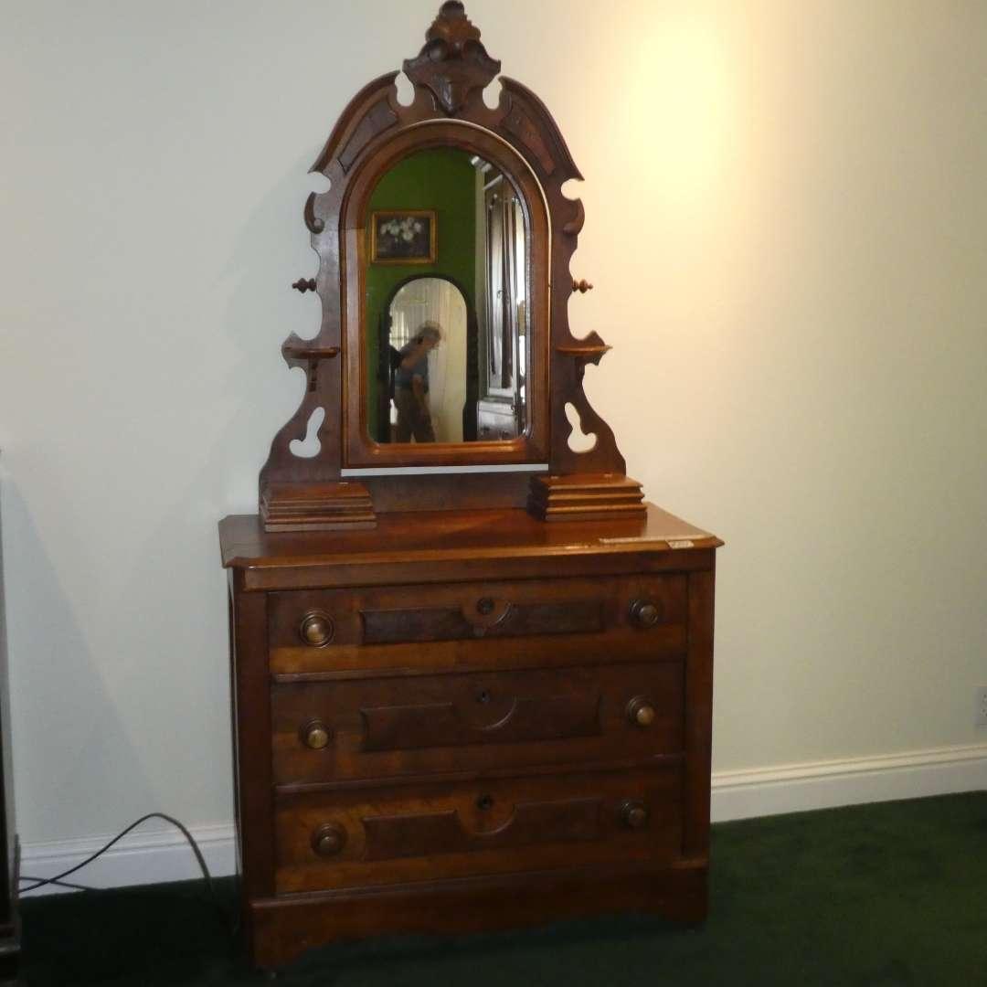 Lot # 201 - Beautiful Antique Vanity Dresser on Casters (main image)