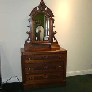Lot # 201 - Beautiful Antique Vanity Dresser on Casters