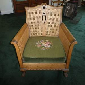 Lot # 204 - Antique/Vintage Wooden Rocking Chair w/Claw Feet, Cane Back &Needlepoint Seat