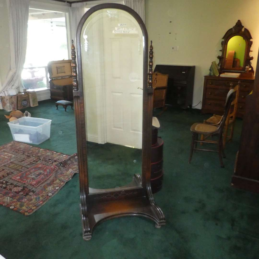 Lot # 205 - Vintage Standing Full Length Mirror (Has Beautiful Etching) (main image)