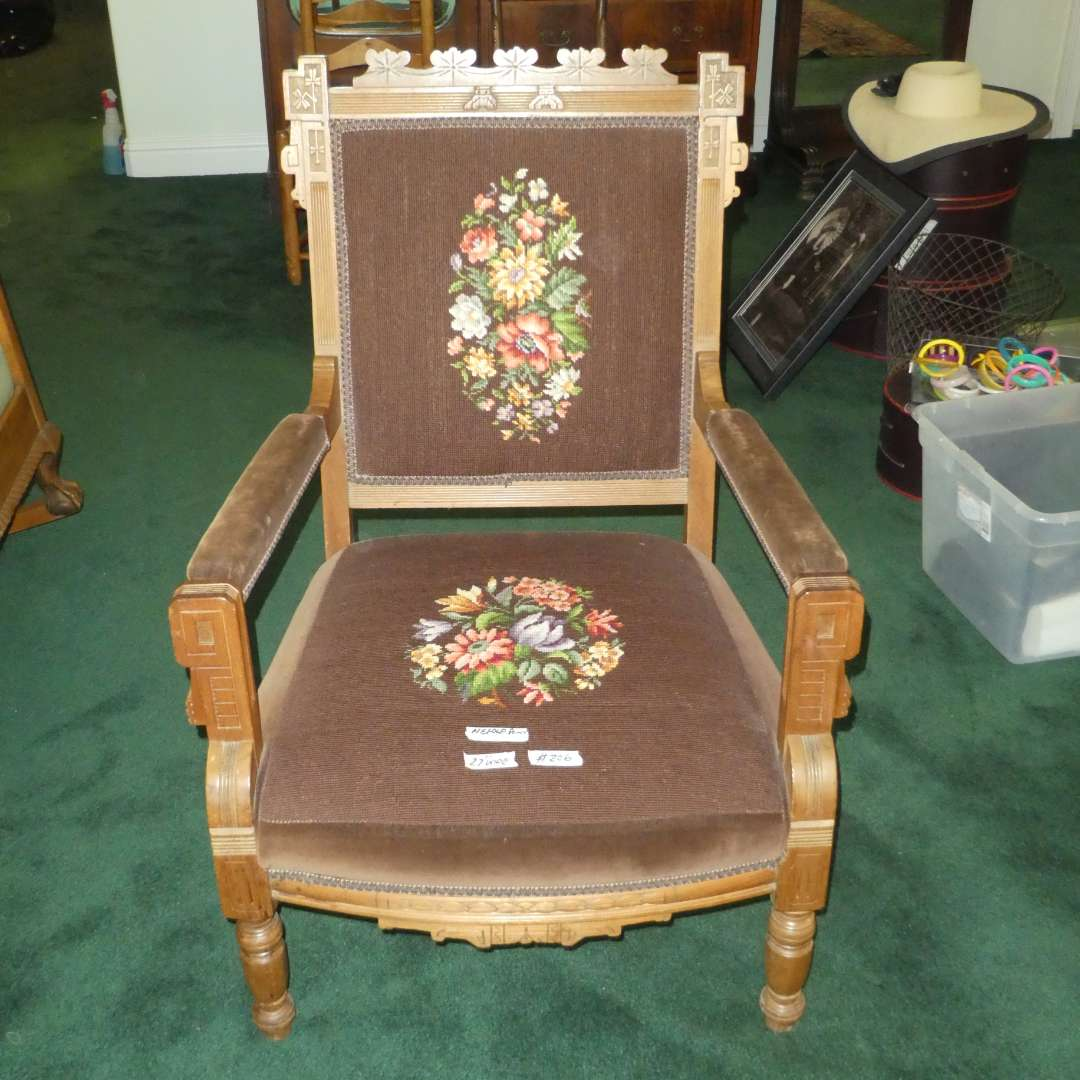 Lot # 206 - Beautifully Carved Antique Accent Chair w/ Needle Point Backing and Seat (main image)