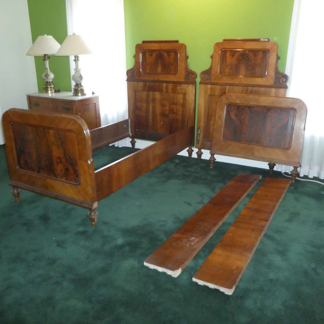 Lot # 212 - Pair of Beautiful Vintage Twin Bed Frames (Molding Cut on Foot Boards to Enable Them to Fit Together)(See Photos) (main image)