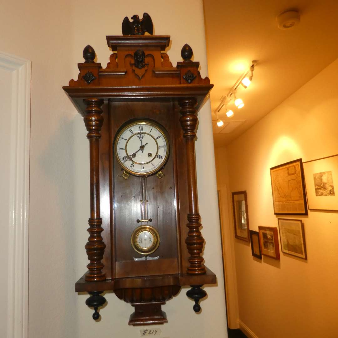 Lot # 214 - Gorgeous German Wall Clock w/ Eagle on Top  (main image)