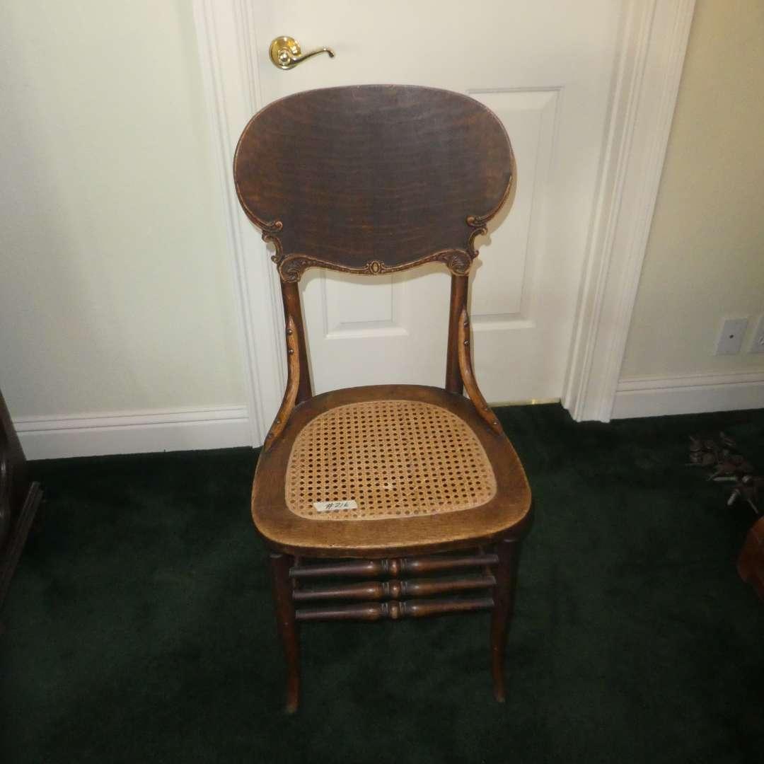 Lot # 215 - Adorable Antique/Vintage Chair w/ Cane Seat (main image)