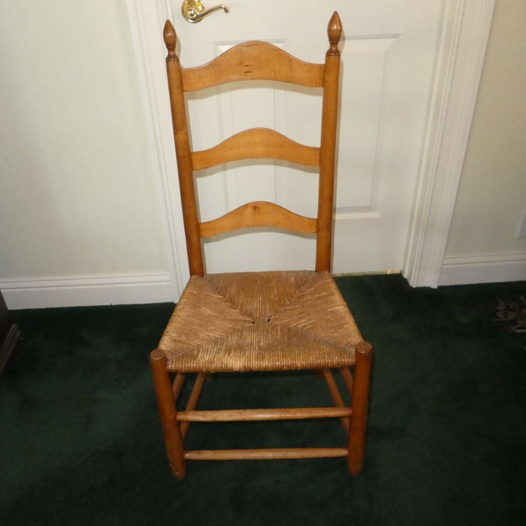 Lot # 216 - Vintage Ladder Back Chair w/ Rush Seat  (main image)